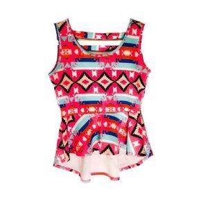 Aztec/Tribal Print Pink Peplum High-Low Blouse - L